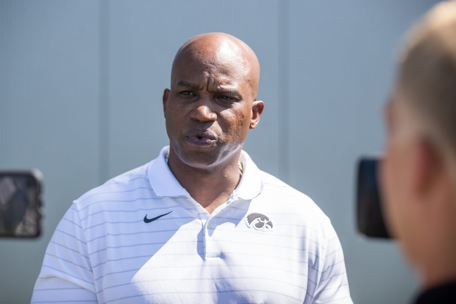 Iowa wide receivers coach Kelton Copeland waits for questions from the media during Iowa football media day at Iowa football's practice field on Friday, Aug. 13, 2021.