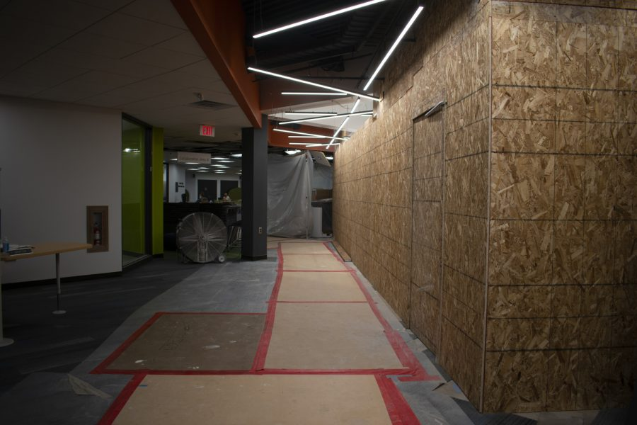 Construction is seen in the Education Technology Center inside the Lindquist Center on Sept. 20, 2021.