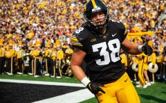 Iowa fullback Monte Pottebaum runs through the end zone after a kickoff during a football game between No. 18 Iowa and No. 17 Indiana at Kinnick Stadium on Saturday, Sept. 4, 2021. The Hawkeyes defeated the Hoosiers 34-6.