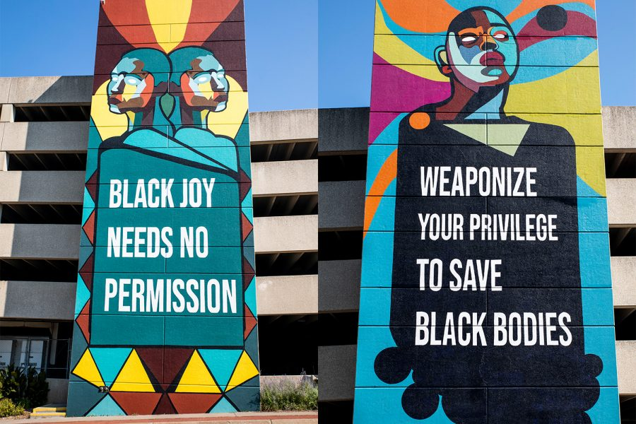 A mural is seen on Burlington Street on Monday, Aug. 30, 2021. Oracles of Iowa City is a mural project in collaboration with Public Space One and the Center for Afrofuturist Studies.
