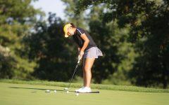 Paula Miranda practices her putt at Finkbine Golf Course on Thursday, Sept. 16, 2021.