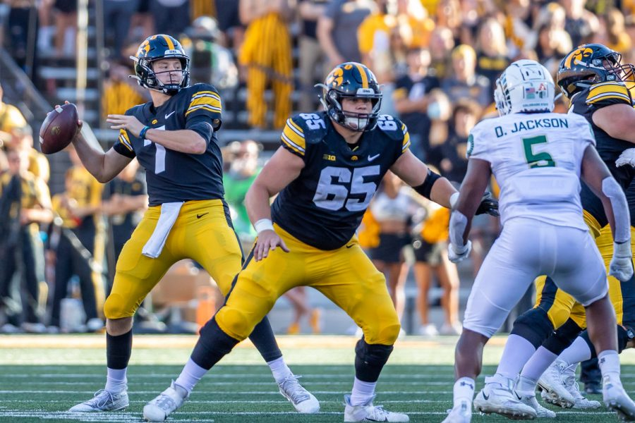Iowa quarterback Spencer Petras throws the ball during a football game between Iowa and Colorado State at Kinnick Stadium on Saturday, Sept. 25, 2021. The Hawkeyes defeated the Rams 24-14.