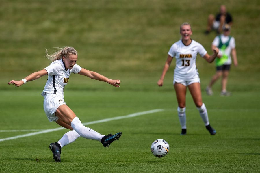 Iowa midfielder Hailey Rydberg scores a goal during a soccer game between Iowa and South Dakota on Aug. 7, 2021, at the Iowa Soccer Complex. The Hawkeyes defeated the Coyotes 3-0.