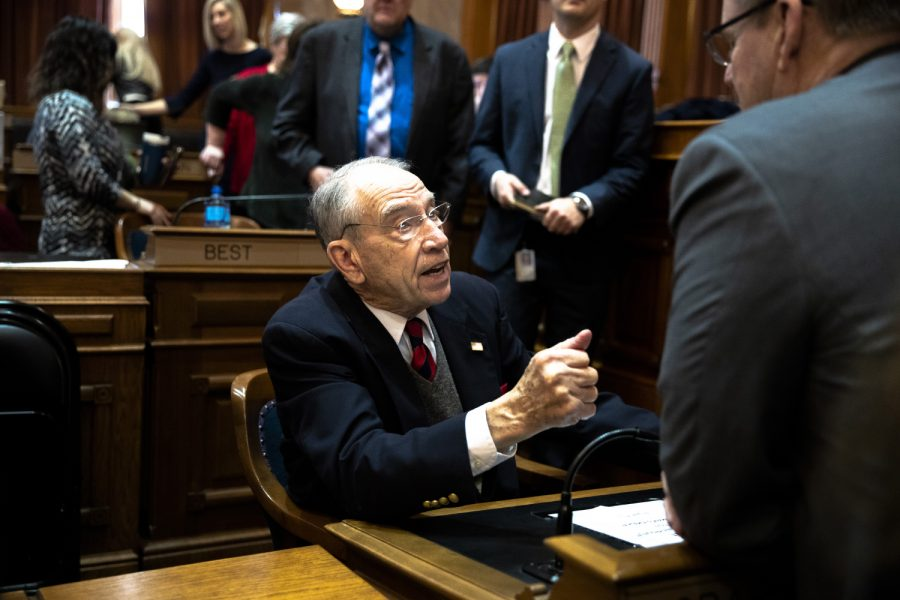 Sen.+Chuck+Grassley%2C+R-Iowa.%2C+has+a+conversation+at+the+Iowa+State+Capitol+on+Monday%2C+January+13%2C+2020.+The+House+convened+and+leaders+in+the+Iowa+House+of+Representatives+gave+opening+remarks+to+preview+their+priorities+for+the+2020+session.