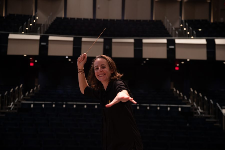 University of Iowa Symphony Orchestra Conductor Mélisse Brunet poses for a portrait before one of  the symphony orchestra's dress rehearsals on Monday, Sept. 20, 2021. This year, Symphony Orchestra will be celebrating its 100th year.