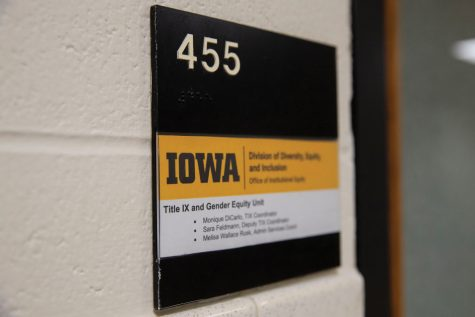 The Title IX and Gender Equity office is seen in Van Allen Hall at the University of Iowa on Sunday, Sept. 19, 2021.