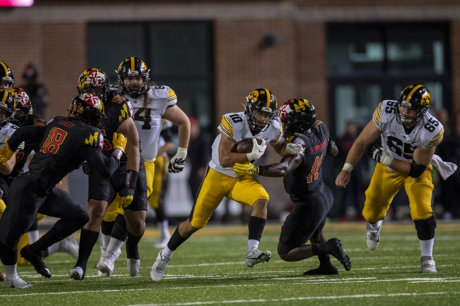 Iowa wide receiver Arland Bruce IV breaks free after a reception during a football game between Iowa and Maryland at Maryland Stadium on Friday, Oct. 1, 2021. (Jerod Ringwald/The Daily Iowan)