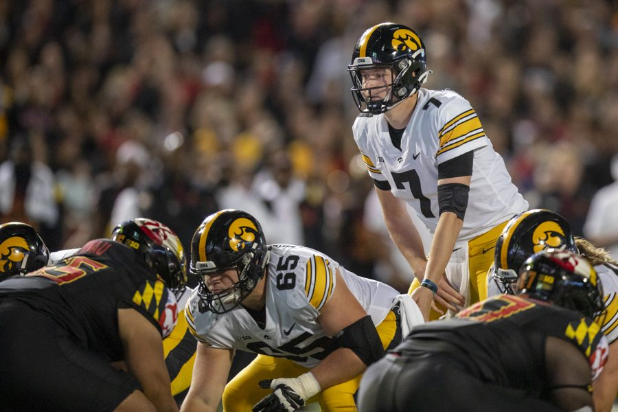 Iowa quarterback Spencer Petras gets ready for a play during a football game between Iowa and Maryland at Maryland Stadium on Friday, Oct. 1, 2021. (Jerod Ringwald/The Daily Iowan)
