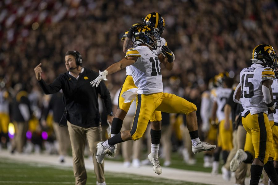 Iowa wide receiver Arland Bruce IV celebrates after a play during a football game between Iowa and Maryland at Maryland Stadium on Friday, Oct. 1, 2021. (Jerod Ringwald/The Daily Iowan)