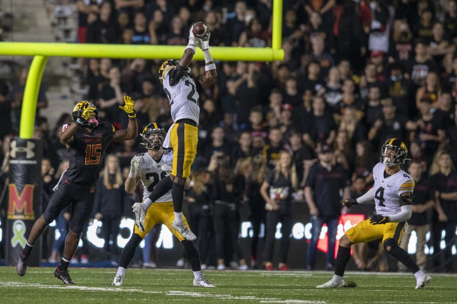 Iowa defensive back Terry Roberts jumps up for an interception during a football game between Iowa and Maryland at Maryland Stadium on Friday, Oct. 1, 2021. (Jerod Ringwald/The Daily Iowan)