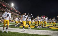 Iowa players begin to warmup during a football game between Iowa and Maryland at Maryland Stadium on Friday, Oct. 1, 2021.The Hawkeyes defeated the Terrapins 51-14. (Jerod Ringwald/The Daily Iowan)