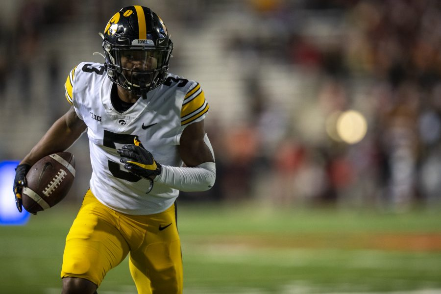 Iowa wide receiver Tyrone Tracy Jr. runs into the end zone for a touchdown during a football game between Iowa and Maryland at Maryland Stadium on Friday, Oct. 1, 2021. The Hawkeyes defeated the Terrapins 51-14. (Jerod Ringwald/The Daily Iowan)