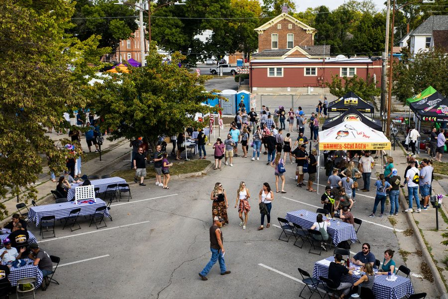 Guest's fill the streets at the 25th BrewFest/6th Annual Northside Oktoberfest on Saturday, Oct. 2, 2021.(Jeff Sigmund/Daily Iowan)