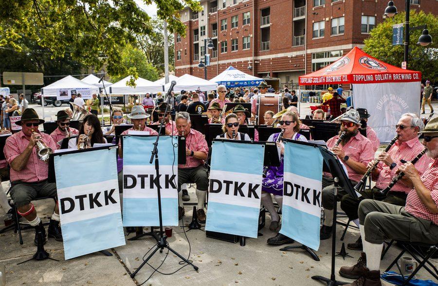 The Die Tieffen Keller Polka band performs at the 25th BrewFest/6th Annual Northside Oktoberfest on Saturday, Oct. 2, 2021.(Jeff Sigmund/Daily Iowan)