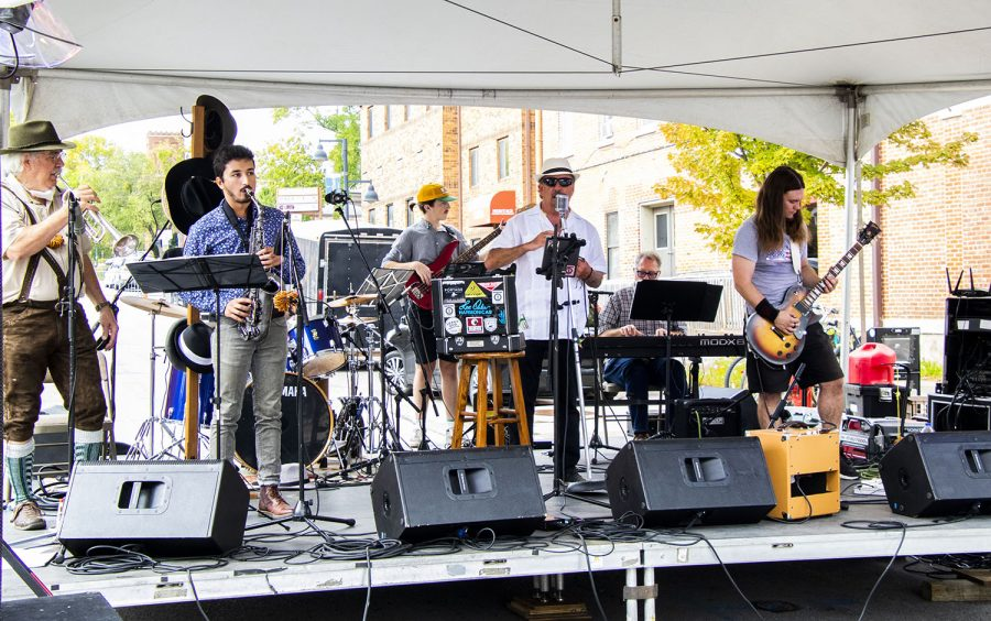 Homebrewed play for the crowed at the 25th BrewFest/6th Annual Northside Oktoberfest on Saturday, Oct. 2, 2021. The band is Iowa City based and plays a variety of music.(Jeff Sigmund/Daily Iowan)