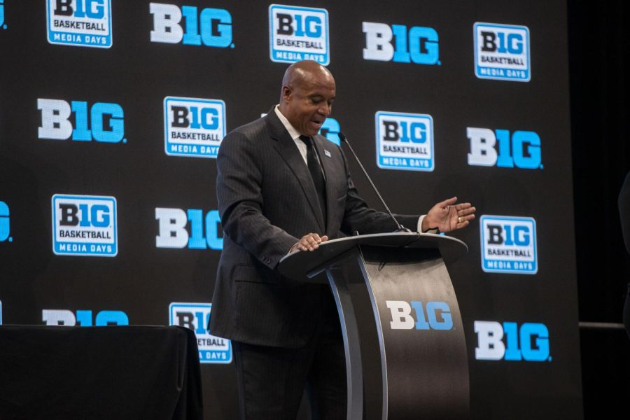 Kevin+Warren+speaks+with+members+of+the+media+at+Big+Ten+Basketball+Media+Days+at+Gainbridge+Fieldhouse+in+Indianapolis%2C+Indiana%2C+October+7th%2C+2021.