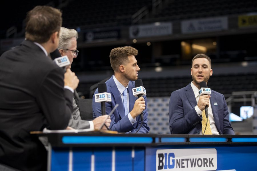 Iowa+guard+Connor+McCaffery+speaks+on+live+television+during+Big+Ten+Basketball+Media+Days+at+Gainbridge+Fieldhouse+in+Indianapolis%2C+Indiana+on+Thursday%2C+Oct.+7%2C+2021.+While+at+a+podium%2C+Connor+McCaffery+addressed+his+thoughts+on+this+upcoming+season.+%E2%80%9CI+think+we%E2%80%99ll+be+good.+It%E2%80%99s+motivating+to+know+that+we%E2%80%99re+not+supposed+to+be+as+good+because+we+lost+Luka+and+Wiesy+but+honestly+we%E2%80%99re+not+worried+about+that%2C+we+know+what+to+do.%E2%80%9D+