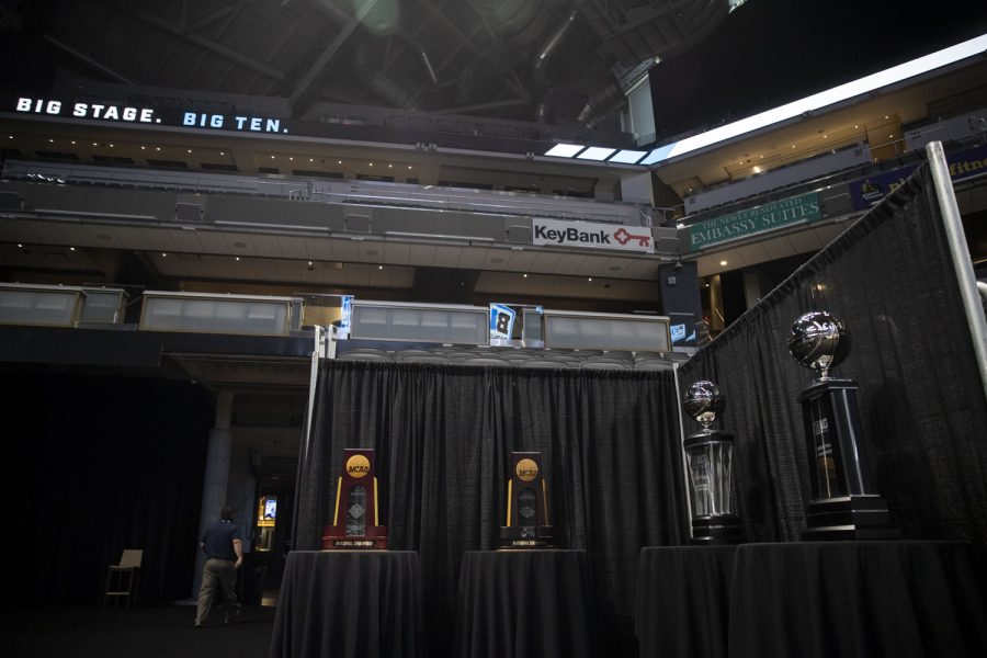 The 2022 NCAA  Basketball Championship trophies are displayed during Big Ten Basketball Media Days at Gainbridge Fieldhouse in Indianapolis, Indiana on Thursday, Oct. 7, 2021. (Grace Smith/The Daily Iowan)