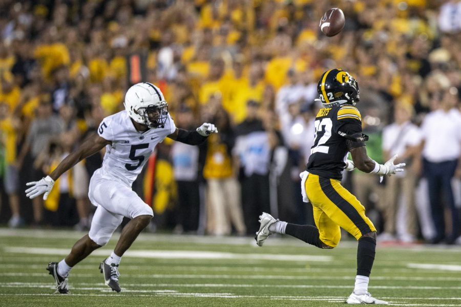 Iowa defensive back Terry Roberts attempts to intercept a pass during a football game between No. 3 Iowa and No. 4 Penn State at Kinnick Stadium on Saturday, Oct. 9, 2021. The Hawkeyes defeated the Nittany Lions 23-20. (Jerod Ringwald/The Daily Iowan)