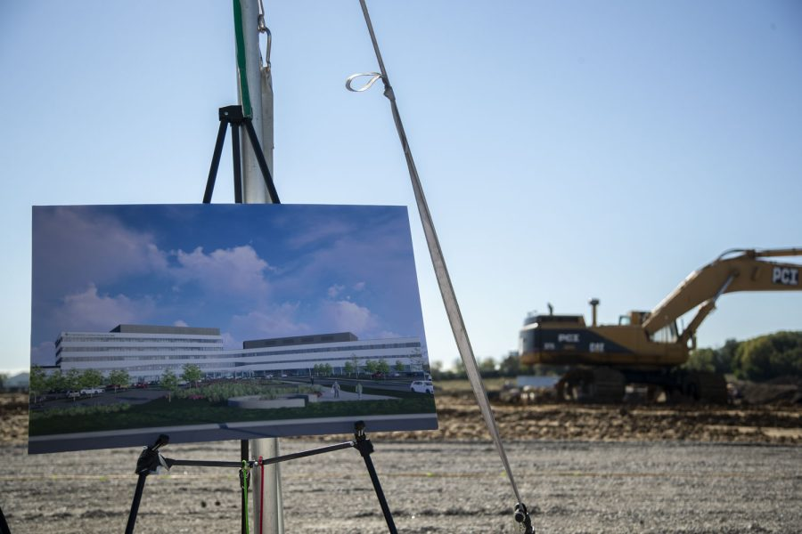 A printed photo of the new UIHC prototype is seen during a groundbreaking ceremony at the North Liberty University of Iowa Hospitals and Clinics construction site on Thursday, Oct. 14, 2021. The new facility is set to include procedure rooms, emergency care rooms, laboratories, outpatient clinics, a pharmacy, advanced diagnostic imaging and teaching/research space.