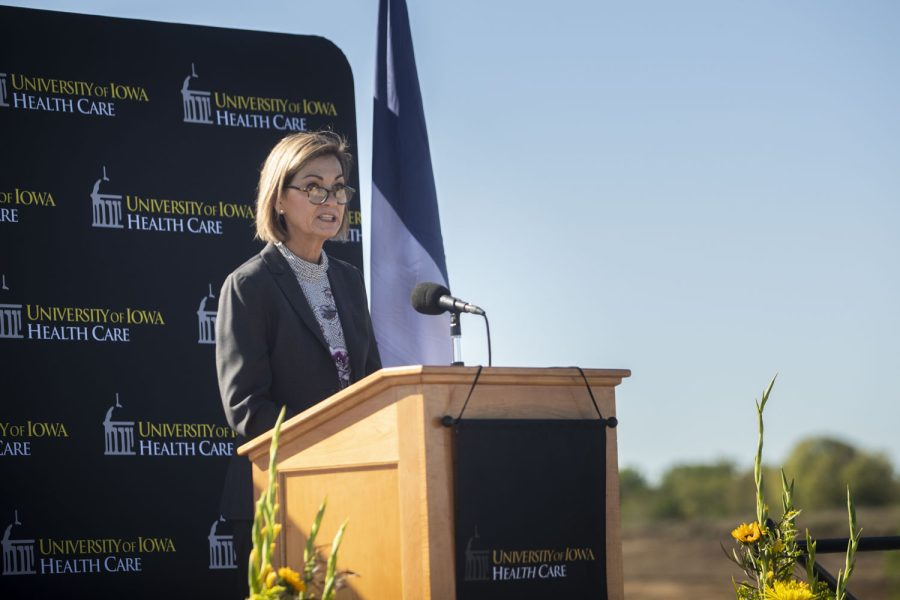Iowa Governor Kim Reynolds speaks during a groundbreaking ceremony at the North Liberty University of Iowa hospitals and clinics construction site on Thursday, Oct. 14, 2021. Many leaders attended this event including Reynolds, University of Iowa President Barbara Wilson, Iowa City Mayor Bruce Teague, CEO of UIHC Suresh Gunasekaran, the Iowa Board of Regents, and more. The new facility is set to include procedure rooms, emergency care rooms, laboratories, outpatient clinics, a pharmacy, advanced diagnostic imaging and teaching/research space. (Grace Smith/The Daily Iowan)