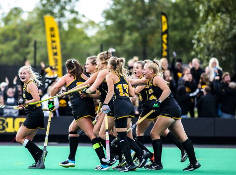 Iowa celebrates their first goal during the fourth quarter during a field hockey game between No.1 Iowa and No. 2 Michigan on Friday, Oct. 15, 2021, at Grant Field. The Hawkeyes defeated the Wolverines 2-1 in double overtime and a shootout.