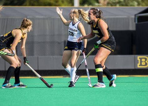 Michigan forward/midfielder Sarah Pyrtek look for a call during a field hockey game between No.1 Iowa and No. 2 Michigan on Friday, Oct. 15, 2021, at Grant Field. The Hawkeyes defeated the Wolverines 2-1 in double overtime and a shootout.