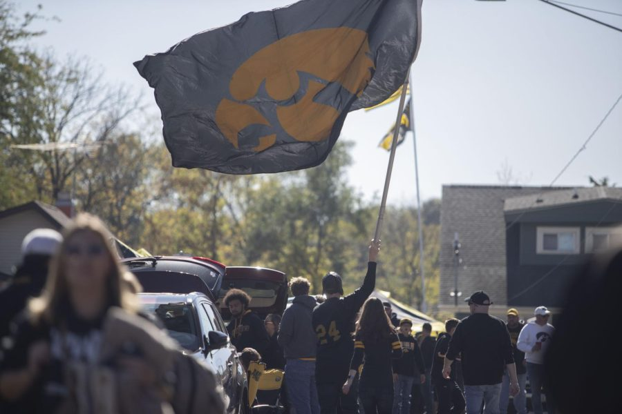 Tailgaters get ready for the University of Iowa's homecoming game against Purdue on Saturday, Oct. 16, 2021.