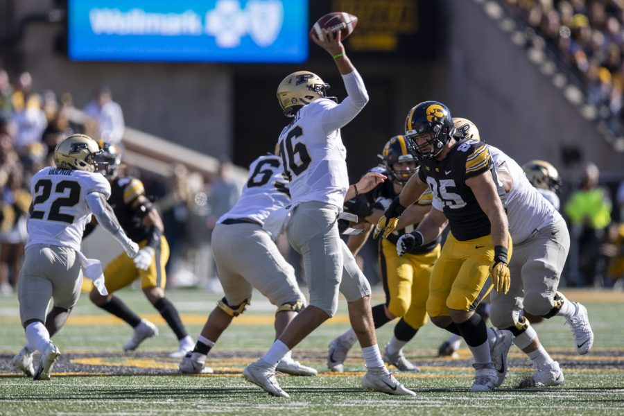 Purdue quarterback Aidan OConnell throws a pass during a football game between Iowa and Purdue at Kinnick Stadium on Saturday, Oct. 16, 2021. (Jerod Ringwald/The Daily Iowan)