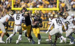Iowa running back Tyler Goodson finds room to run during a football game between Iowa and Purdue at Kinnick Stadium on Saturday, Oct. 16, 2021. (Jerod Ringwald/The Daily Iowan)