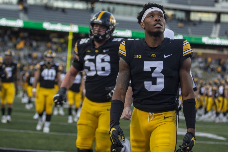 Iowa wide receiver Tyrone Tracy Jr. walks off the field after a football game between No. 2 Iowa and Purdue at Kinnick Stadium on Saturday, Oct. 16, 2021. The Boilermakers defeated the Hawkeyes 24-7. (Jerod Ringwald/The Daily Iowan)