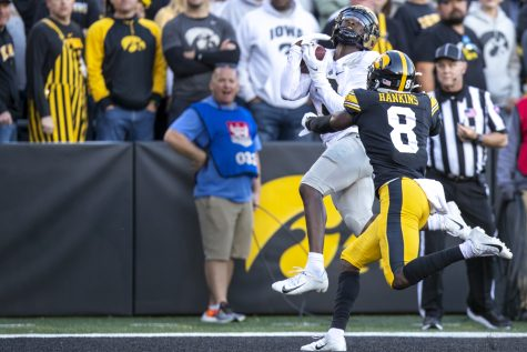 Purdue wide receiver David Bell catches a touchdown pass during a football game between No. 2 Iowa and Purdue at Kinnick Stadium on Saturday, Oct. 16, 2021. The Boilermakers defeated the Hawkeyes 24-7. Bell averaged 21.8 yards per reception.