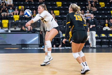 Iowa outside hitter Addie VanderWeide bumps the ball during the volleyball game between Iowa and Purdue at Xtream Arena on Saturday, Oct. 9, 2021. Purdue defeated Iowa 3-0.
