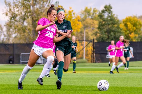 Iowa forward/midfielder Kenzie Roling runs to gain possession of the ball during a soccer game between Iowa and Michigan State at the Iowa Soccer Complex on Sunday, Oct. 3, 2021. Michigan State defeated Iowa 2-1.