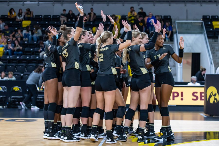 The Purdue Boilermakers wave to their fans after winning the third set of the volleyball game between Iowa and Purdue at Xtream Arena on Saturday, Oct. 9, 2021. Purdue defeated Iowa 3-0.