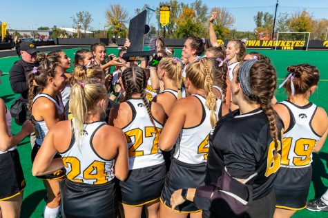 The Iowa Hawkeyes celebrate clinching a share of the Big Ten Conference regular season title during the field hockey game between Iowa and Ohio State at Grant Field on Sunday, Oct. 17, 2021. Iowa defeated Ohio State 3-0.