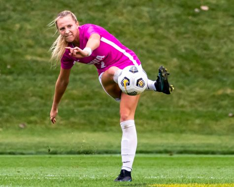Iowa midfielder Hailey Rydberg passes the ball during a soccer game between Iowa and Michigan State at the Iowa Soccer Complex on Sunday, Oct. 3, 2021. Michigan State defeated Iowa 2-1.