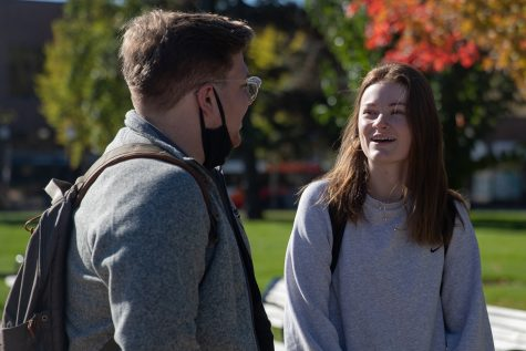 Coltin Ball and Katie Westermeyer are shown answering questions from Daily Iowan journalist Sam Knupp about the Iowa City elections in Iowa City on Tuesday, Oct. 26, 2021.(Larry Phan/The Daily Iowan)