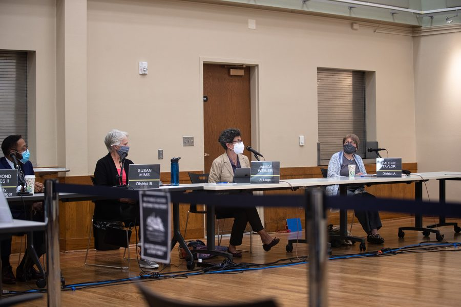 At Large Janice Weiner speaks at the Iowa City City Council Meeting at the Senior Center Tuesday, Oct. 19, 2021.