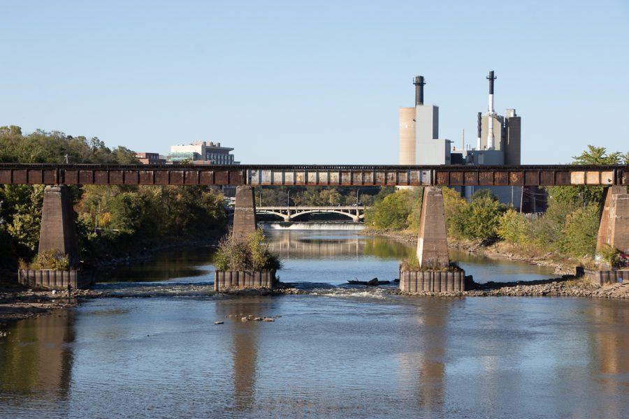 A bridge is seen in Iowa City, Iowa on Sunday, Oct. 17, 2021.