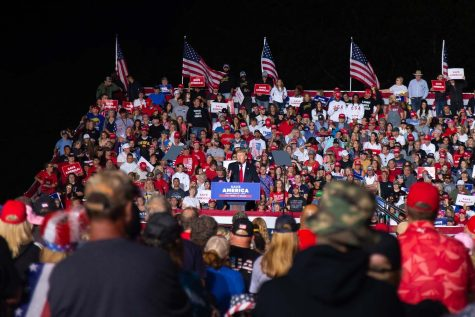 """Former President Donald Trump addresses attendees that showed up for his """"Save America"""" rally in Des Moines, Iowa on Saturday, Oct. 9, 2021."""