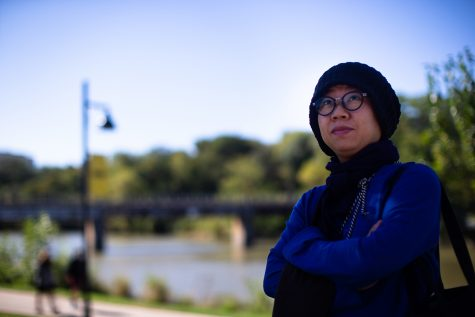 Candace Chong Mui Ngam poses for a portrait near the Iowa Memorial Union at the University of Iowa on Thursday, Oct. 14, 2021. (Gabby Drees/The Daily Iowan)