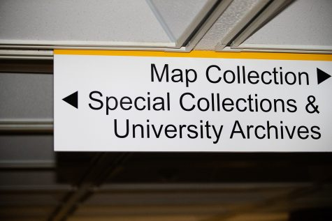 Special Collections is seen at the University of Iowa Main Library Sunday, Oct. 24, 2021.