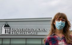 University of Iowa graduate student Hadley Galbraith poses for a portrait at the Scott Boulevard UI Urgent Care on Wednesday, Oct. 6, 2021. Galbraith plans to get the covid booster shot later this year.