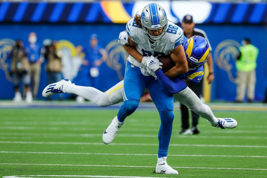 Detroit Lions tight end T.J. Hockenson (88) makes a catch against Los Angeles Rams cornerback Jalen Ramsey (5) during the second half at the SoFi Stadium in Inglewood, Calif. on Sunday, Oct. 24, 2021.