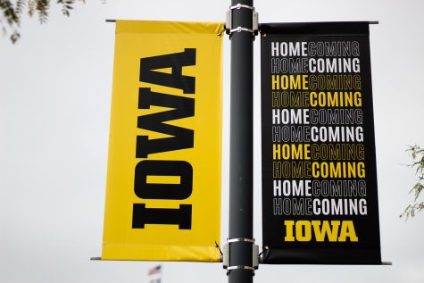 A homecoming banner is seen near the University of Iowa Campus Monday, Oct. 4, 2021. (Gabby Drees/The Daily Iowan)