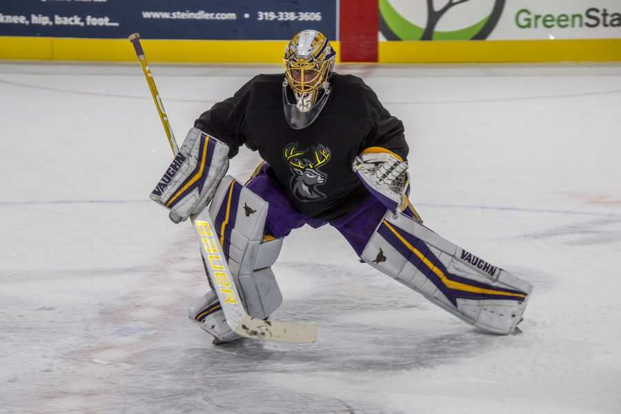 Iowa Heartlanders goalie works on some moves during their first practice on Monday, Oct. 11, 2021. (Jeff Sigmund/The Daily Iowan)