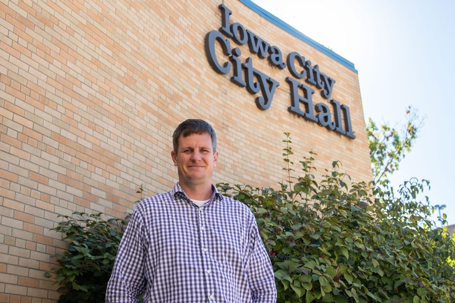 Iowa City Public Safety Information Officer Lee Hermiston poses for a portrait at city hall on Thursday, Oct. 14, 2021. (Ayrton Breckenridge/The Daily Iowan)