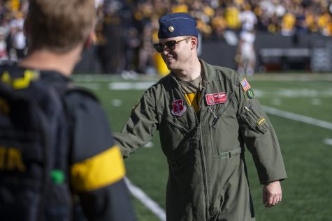 Iowa Military Hero of the Game Adam Vranek is honored on the field during a football game between No. 2 Iowa and Purdue at Kinnick Stadium on Saturday, Oct. 16, 2021.