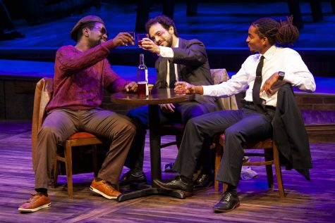 Actors Monté J. Howell, Felipe Barbosa Bombonato, and Dakari Harleston perform Our Lady of 121st St. at the dress rehearsal in the University of Iowa Theatre Building on Oct. 5, 2021. Our Lady of 121st St. is a dark comedy play centralized around old friends reuniting.